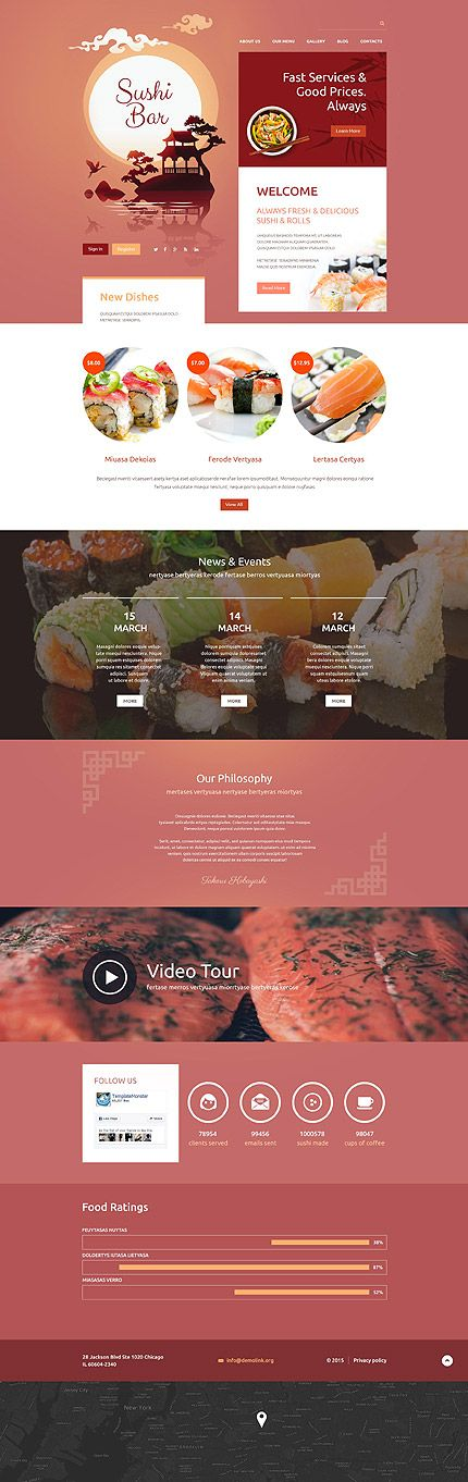 Sushi Bar Website Drupal template themes business
