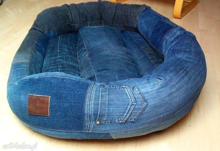 modne zwierzaki legowisko jeansowe dla psa