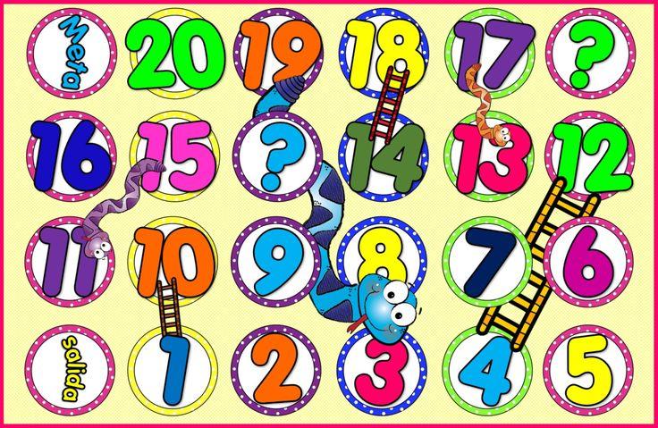 COLECCIÓN  Tableros XXL para trabajar los números del 1 al 20 Juego serpientes ecaleras