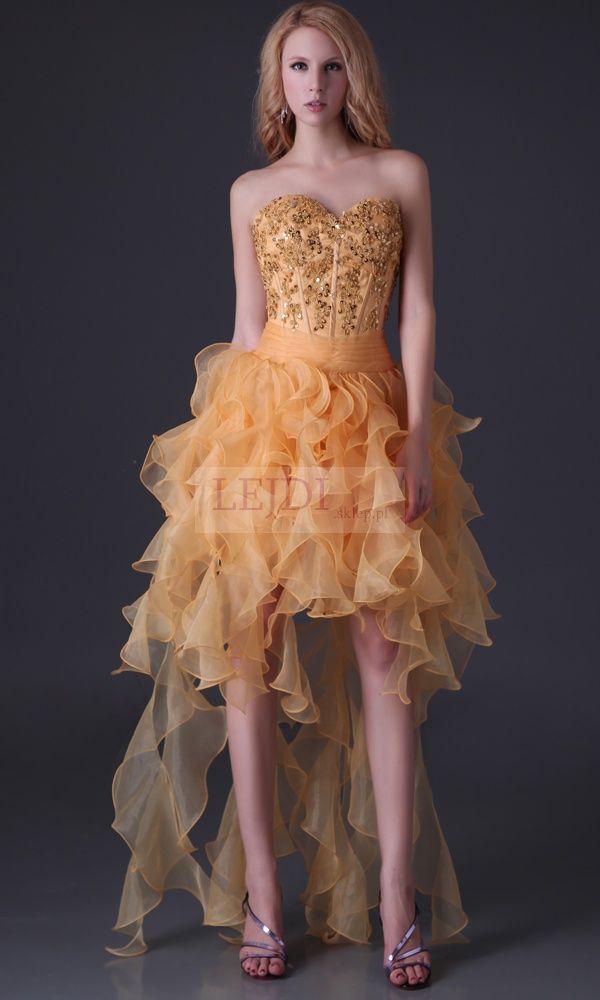 Złota sukienka na studniówkę   na wesele z falbanami UNIKAT
