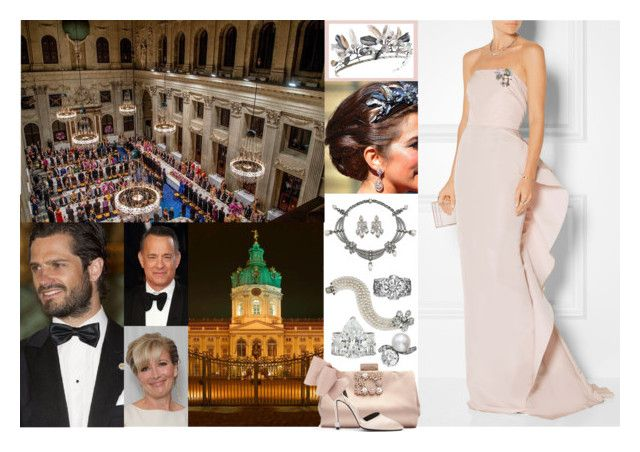 Royal Crossover: Attending a Banquet at Schloss Charlottenburg and the Großer Zapfenstreich in Honour of the Pearl Wedding Anniversary of the Emperor and Empress with Carl Philip by louiseingrid-ofdenmark on Polyvore featuring polyvore, moda, style, Marchesa, Needle & Thread, TIARA, modern, fashion and clothing