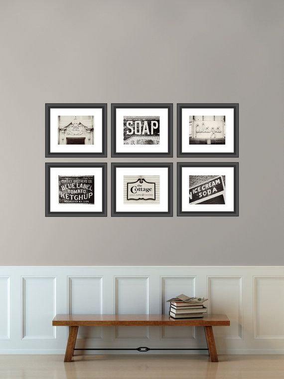 Vintage sign print collection kitchen decor shabby chic home decor set of 6 prints black and - Vintage home decorating collection ...