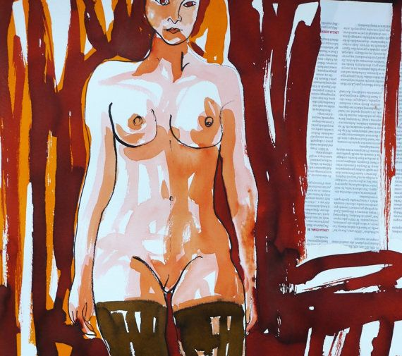 Nude Woman Collage Painting  Redhead   Watercolor by evartstudio