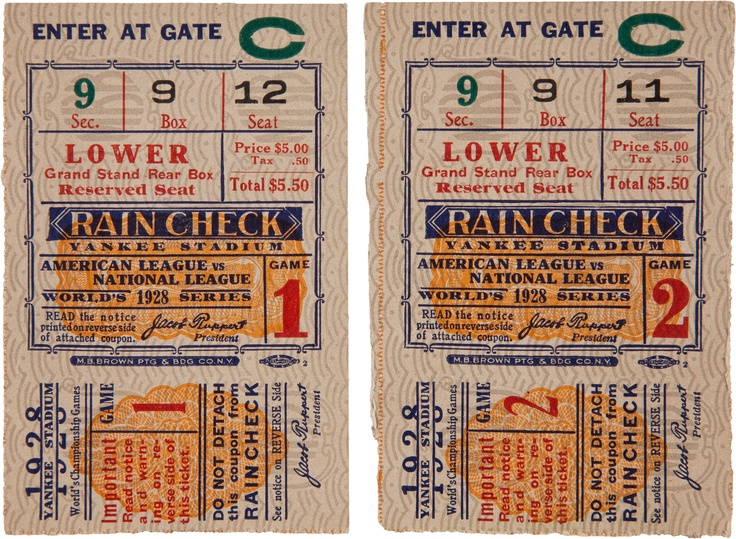 Baseball: 1928 World Series Games One & Two Ticket Stubs (2). A single ticket stub for both Game One and Game Two of the Yankees' four-game sweep of the St. Louis Cardinals. Stubs for adjacent seats clearly have the same spectator of origin, and each presents as EX.