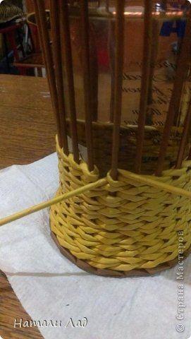 Мастер-класс Поделка изделие Плетение МК бутылочницы с цветочками Трубочки бумажные фото 20