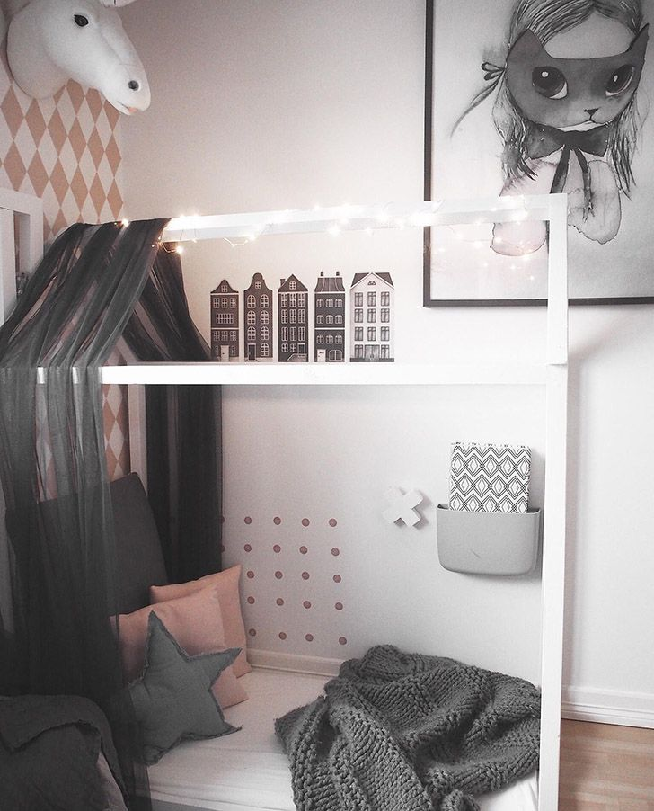 How cute is this playhouse? http://petitandsmall.com/sweetest-girls-nordic-room-instagram/