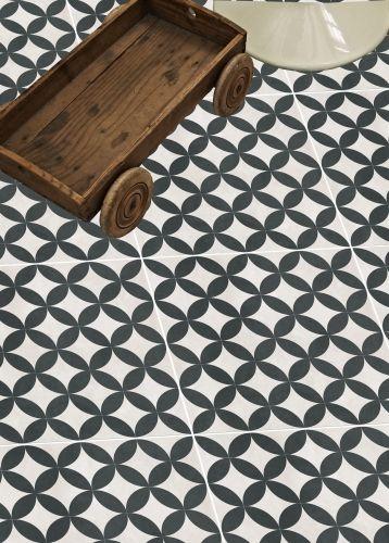 Bertie Black & White Feature Floor Tiles from Tons of Tiles...