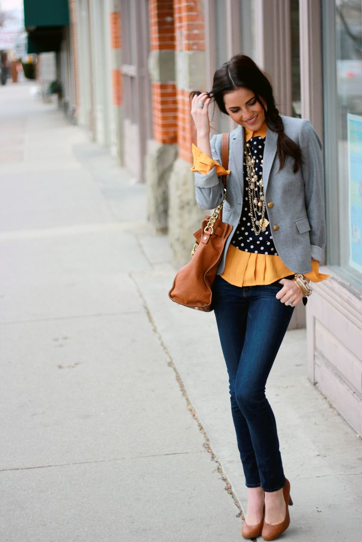 love absolutely everything here. I'll take it all: Favorit Things, Winter Layered, Polka Dots, Color, Brown Heels, Grey Blazers, Fashion Inspiration, Cute Outfit, Pink Peonies