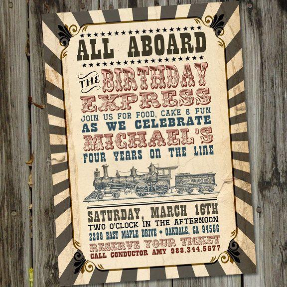 Birthday Express Vintage Train PRINTABLE Birthday Party Invitation. from PartyMonkey on Etsy.