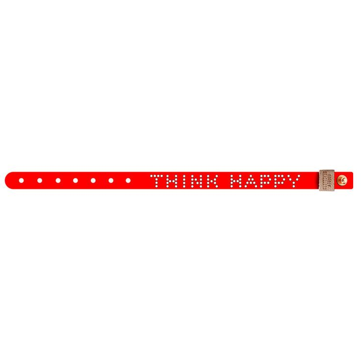 No.159 THINK HAPPY Leather Bracelet / Red