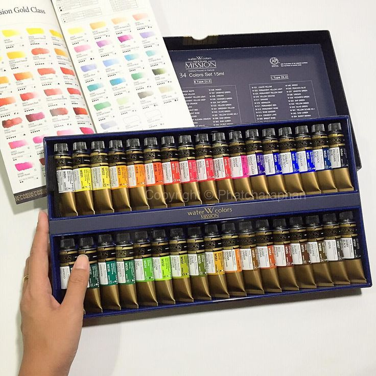 """I received a Gold class mission 34 colors set from Mijello (Korea). Thank you for a special gift! Let's test colors!! Hihi  #watercolor #paint #palette…"""