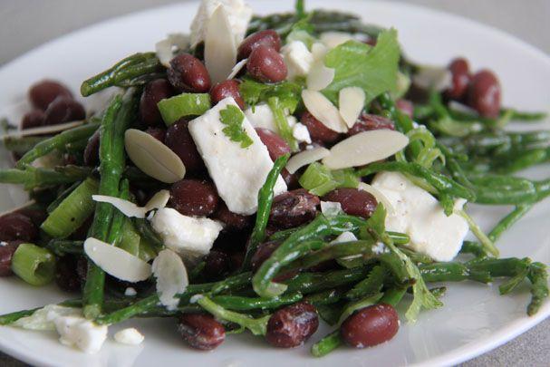 Adukibonen salade met zeekraal