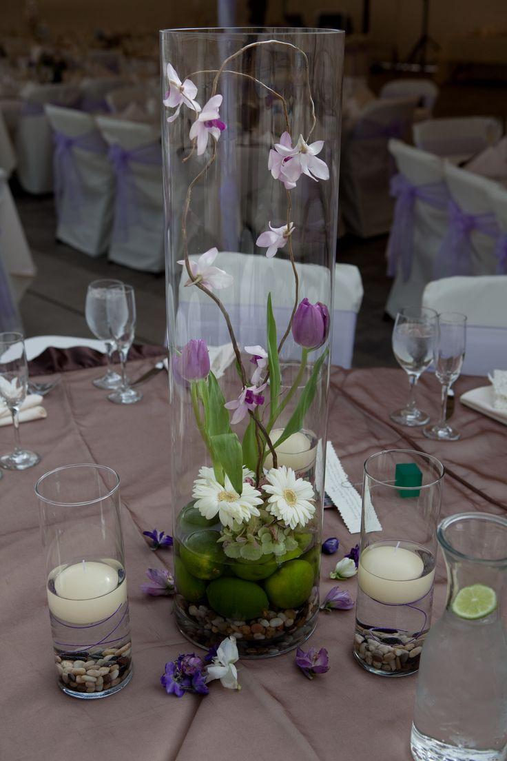 love the terrarium idea - a natural contemporary centerpiece in purple, cream and brown accents