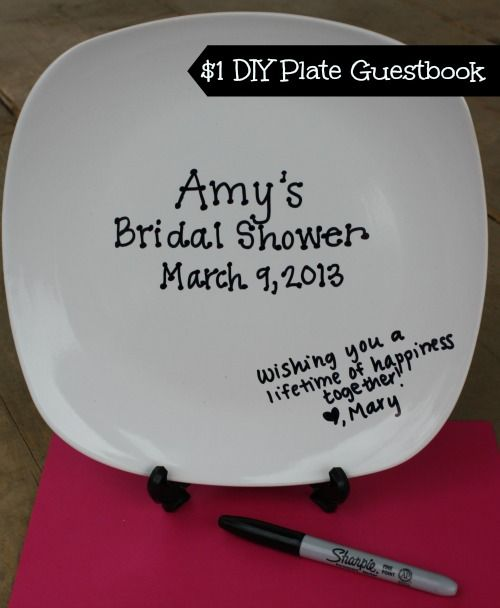 diy plate guestbook for only a dollar a fun alternative to the traditional guestbook have guests write their well wishes dir bridal shower ideas