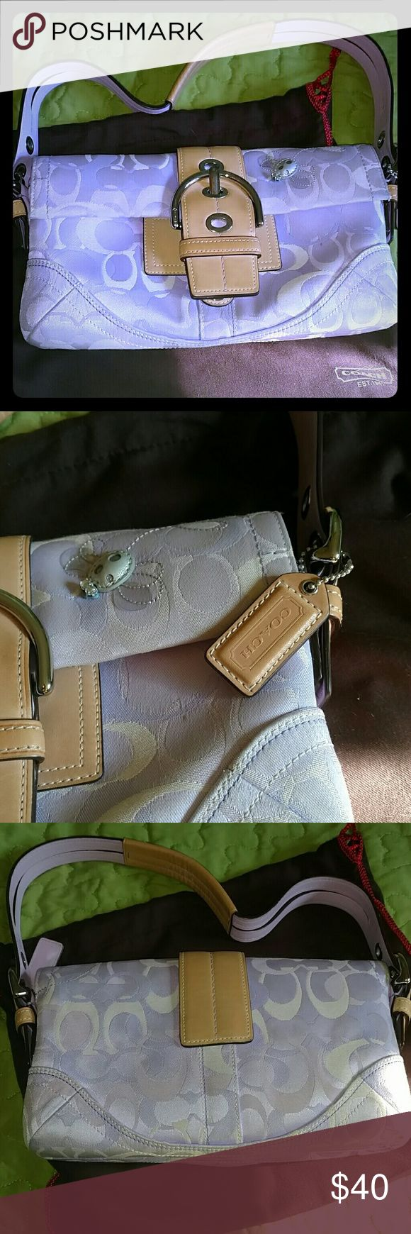 Authentic, light purple Coach shoulder bag Coach bag with leather buckle, and silver lady bug detail Coach Bags Shoulder Bags