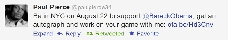 NBA Celtics All-Star Paul Pierce tweets his support for President Obama today.