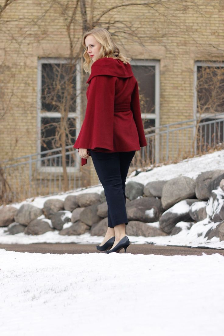 That Cape Life | Red Cape and Stripes for Winter Parties | Work & What She Wore
