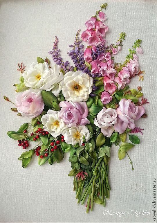 Ribbon embroidered flowers / Купить Букет из лета - вышитые цветы, вышивка шелковыми лентами, летние цветы, наперстянка, розы