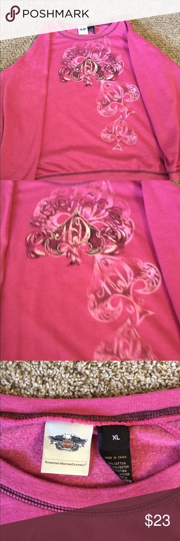 """Authentic Harley Davidson Sweatshirt Authentic Harley Davidson Sweatshirt Size """"XL"""" More Like a """"L"""" In Excellent Condition Pretty Pink Color With Harley Design on Front Nothing on Back Harley-Davidson Tops Sweatshirts & Hoodies"""