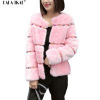 Kış Zarif Palto Sahte Mink Kürk Diamonds Beyaz Pembe Ceketler bayanlar Uzun Kollu Taklit Kürk Mantolar Dişiler Artı Boyutu 3XL SWQ0233-4