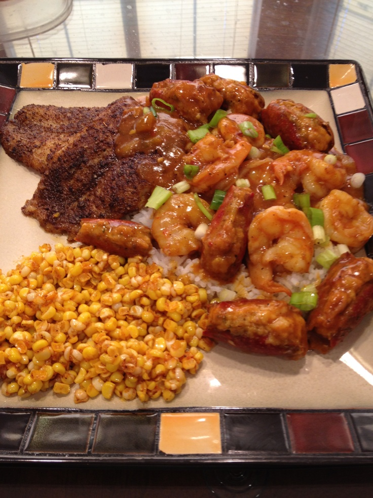 Shrimp bisque with blackened swai fish and spicy corn for Recipe for swai fish