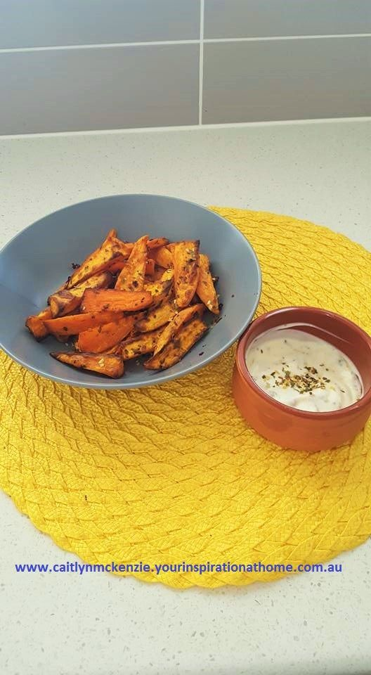 Sweet Potato Sticks - Coated in oil and Guacamole Dip Mix Dip - Greek yoghurt and Guacamole Dip Mix