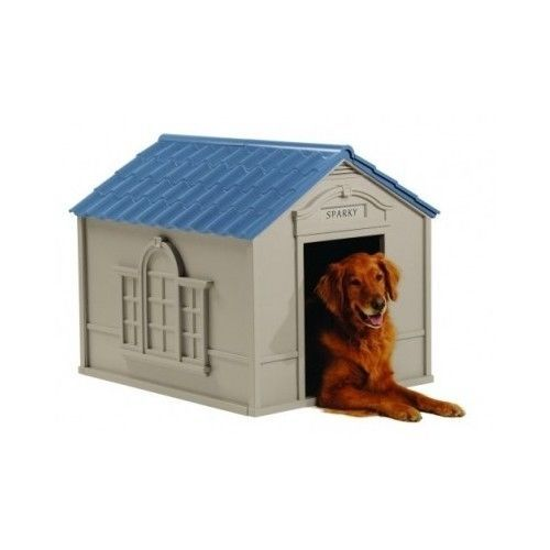 Dog House XL Outdoor Deluxe Pet House Vinyl Door Resin Construction Durable Blue #SunCast