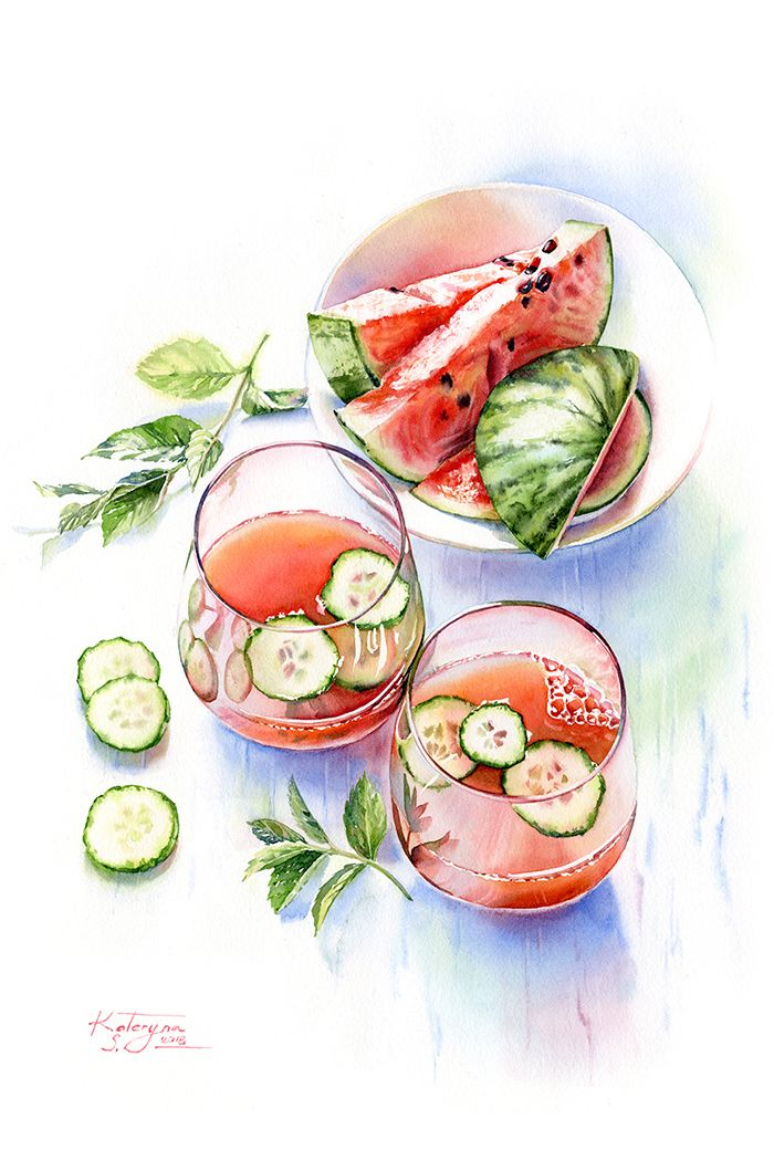 Watermelon Drink - watercolor painting by Kateryna Savchenko. Detailed commercial food illustration of the summer beverages with watermelon, cucumber and mint. Sparkling glass and juicy fruits in watercolour technique