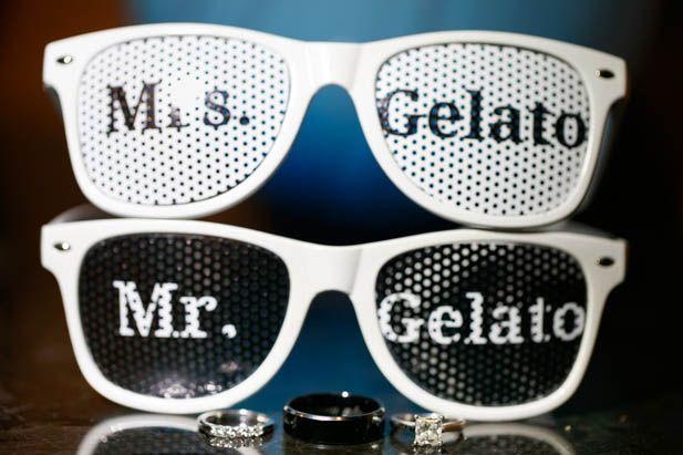 Custom stunner shades for the newlyweds
