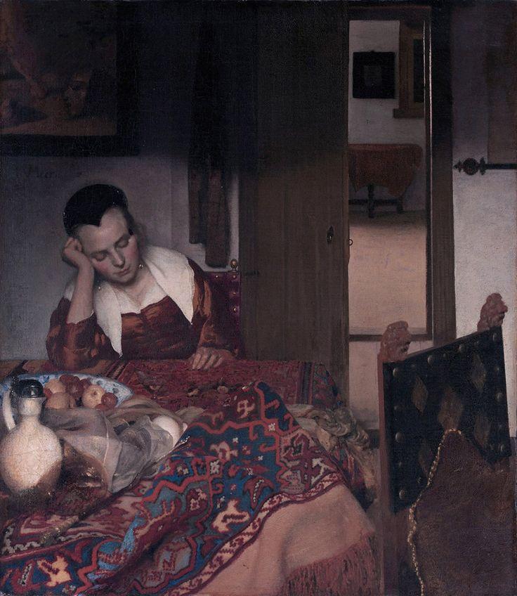 Johannes Vermeer Pijana dziewczyna śpiąca przy stole, ok. 1657, Metropolitan…