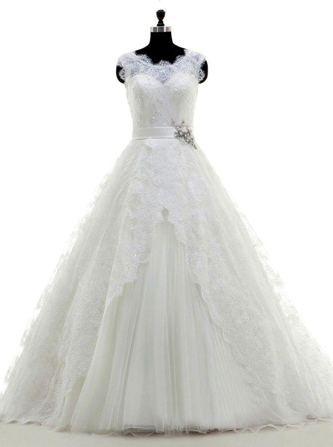 Elégant & Luxueux, Traîne Courte, robe de mariée
