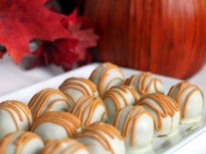 Pumpkin Cake Truffles dipped in Ghirardelli White Candy Making Wafers