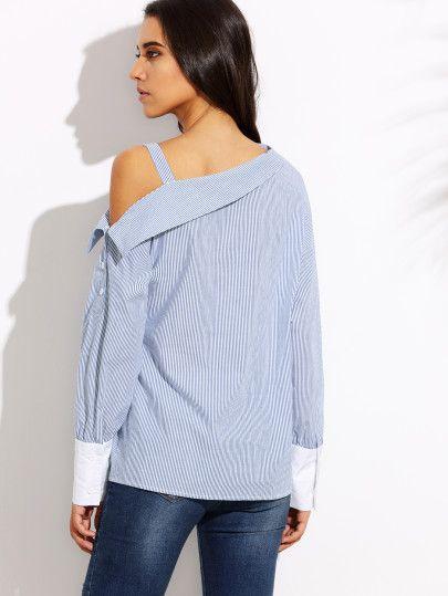 Blusa rayas hombro asimétrico puño combinado - azul-Spanish SheIn(Sheinside) Sitio Móvil