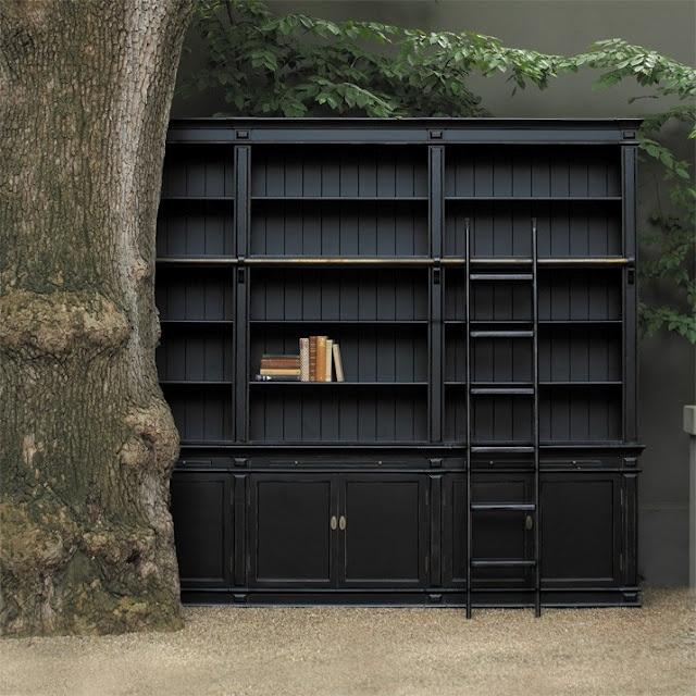 Black Bookshelves Love The Addition Of A Ladder For Short Person Like