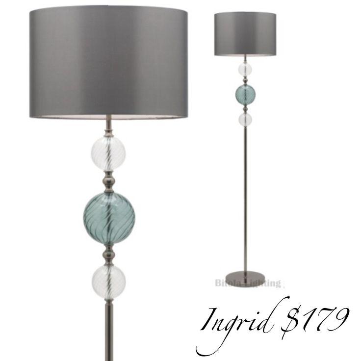 New winter style promotions  Ingrid floor lamp in black nickel metalware and gray taffeta shade. www.bitolalighting.com.au #bitolalightingandfans