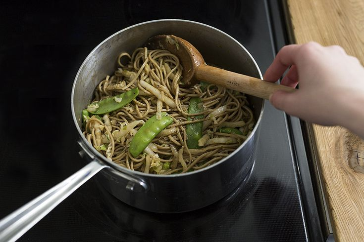 Sweet and Spicy Soba Noodles  with Snow Peas and Salted Garlic Peanuts