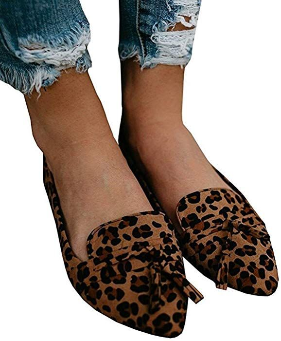 d71c11ac4bf Amazon.com  Misassy Womens Casual Leopard Pointed Toe Flat Shoes Ankle  Strap Loafers Ballet Suede Flats  Clothing