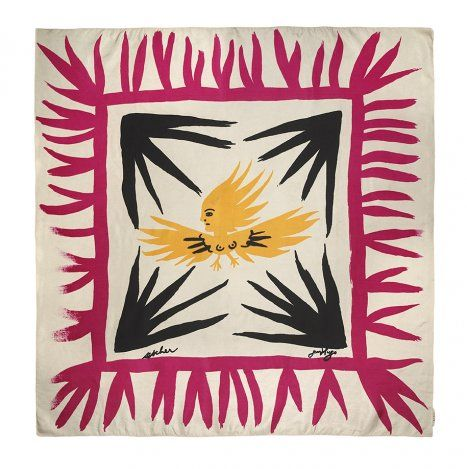 "jean hugo, ""imprévisible jeunesses"" (1947), silk twill scarf designed for ascher's ""artist squares"" series"