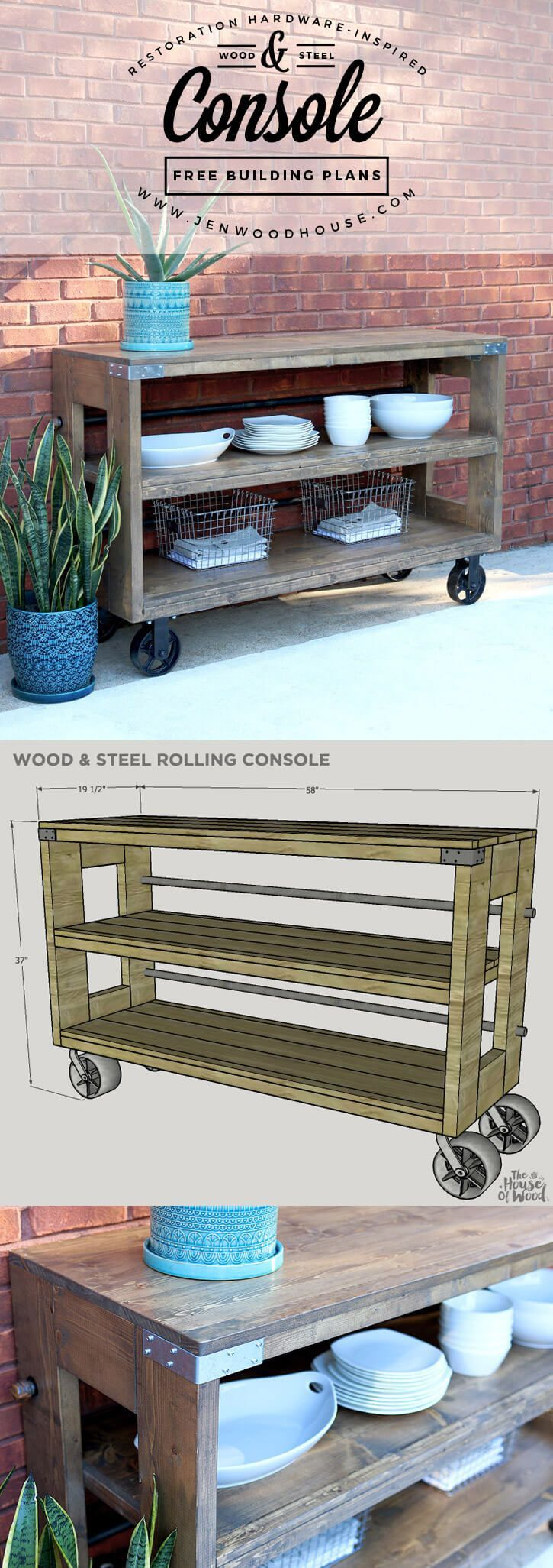 Steel and Wood Repurposed Rolling Console