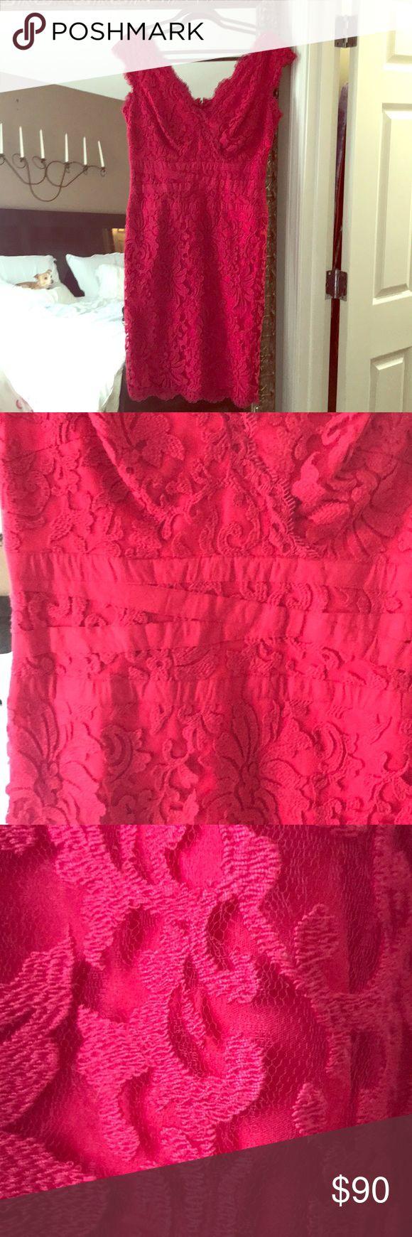 TADASHI SHOJI DRESS Cherry red lace. Size 12. Knee length. Tadashi Shoji Dresses
