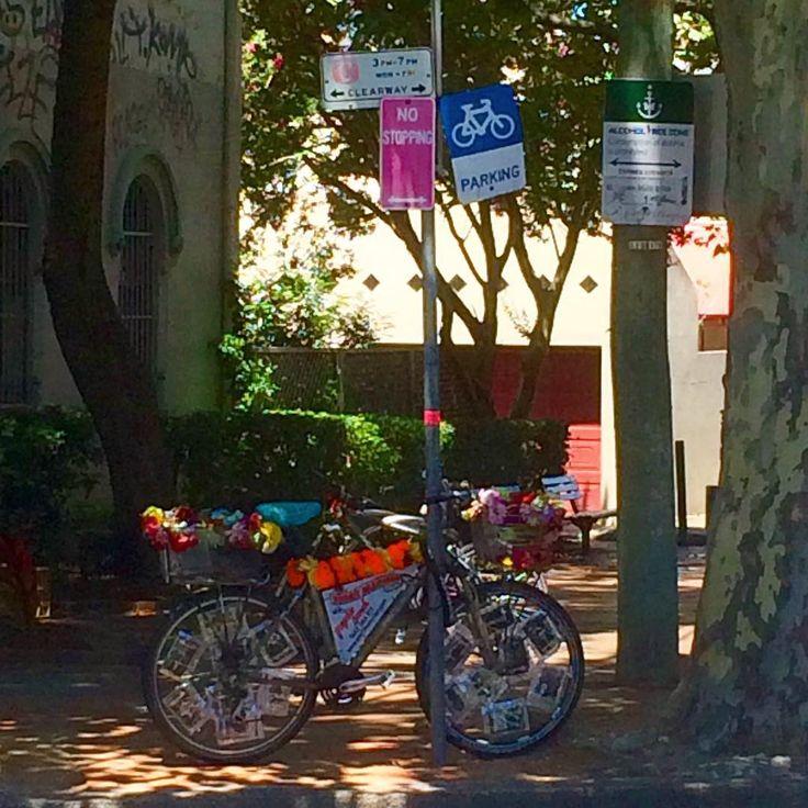 Psychic Sarah's flowery tarot art bike in Newtown, Sydney