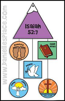 Isaiah 52:7 - Beautiful Feet Mobile Bible Craft from www.daniellesplace.com