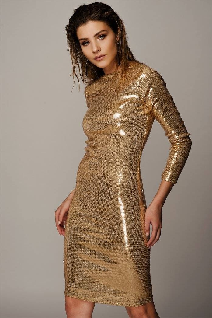 METALLIC GOLD SEQUIN DRESS