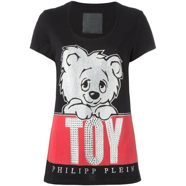 Philipp Plein 'Leave Me' T-shirt ($371) ❤ liked on Polyvore featuring tops, t-shirts, black, print t shirts, short sleeve tops, multi colored t shirts, print top and patterned tops