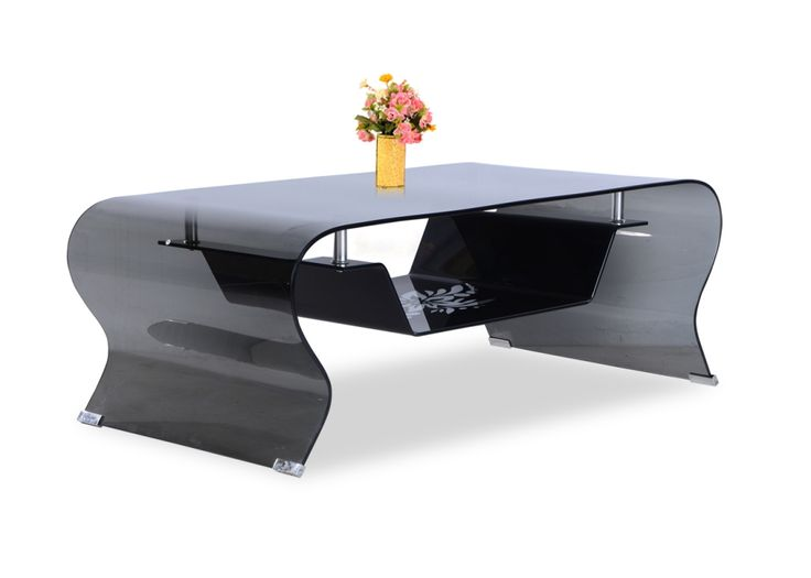 Superior Zee Black Glass Coffee Table From Durian Is Made From Curved Tempered Glass  With A Single