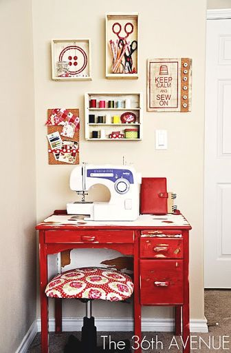 tinywhitedaisies Think big! If money was not an issue, you could have a sewing cottage! Ucreate: Creative Guest: Crate Box Décor by The 36th...