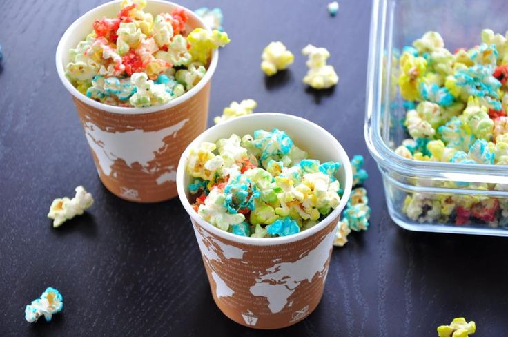 Coloured popcorn! Easy and a novelty for the kids.