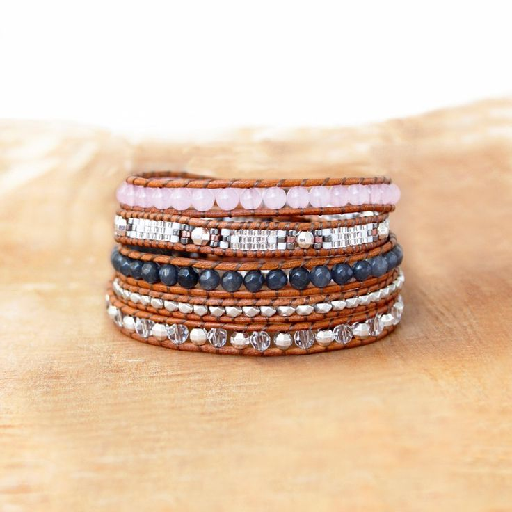 SAKURA wrap bracelet in natural gems , Wrap Vintage