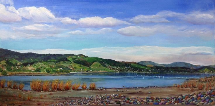 Acrylic on Canvas by JackieMac Winter's Day Boulder Bank, Nelson
