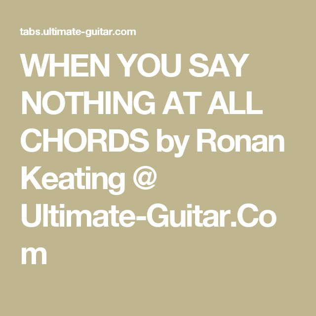 When You Say Nothing At All Chords Keith Whitley Choice Image